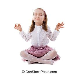 bello, ragazza, meditare, pavimento