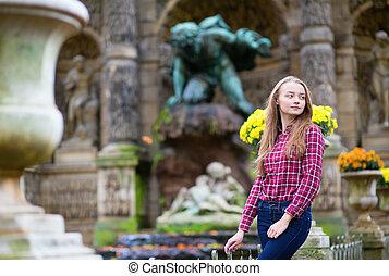 bello, ragazza, parco, giovane, cadere