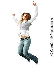 bello, ragazza, saltando, sfondo bianco