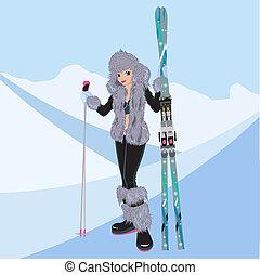 bello, ragazza, sci alpino