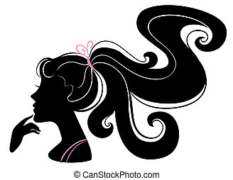 bello, ragazza, silhouette