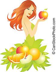bello, ragazza, vettore, illustrazione, frutte