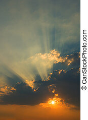 bello, raggi, nubi, sole, cielo, tramonto