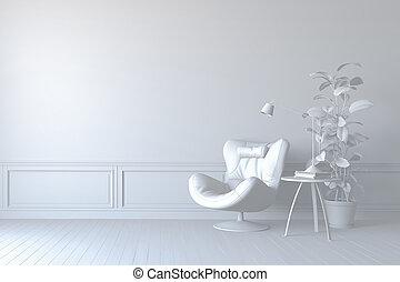 bello, render, cuoio, lampada, interno, braccio sedia, 3d