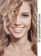 bello, riccio, sano, capelli lunghi, sorridente, woman.