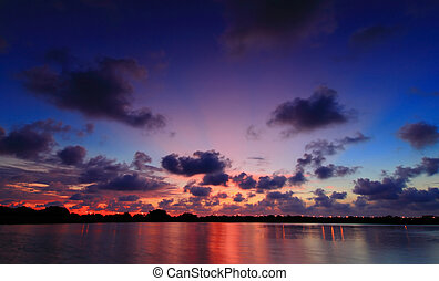 bello, riflessione, di, tramonto