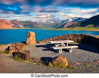 bello, riposare, islandese, posto, fiordi