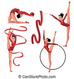 bello, ritmico, nastro, cerchio, ginnastica, ragazza, palla