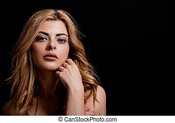 bello, ritratto, donna, naturale, sensuale