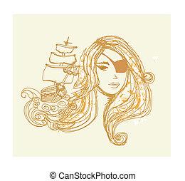 bello, ritratto, ragazza, pirata, astratto