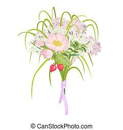 bello, rosa, elegang, isolato, fondo, fiori bianchi