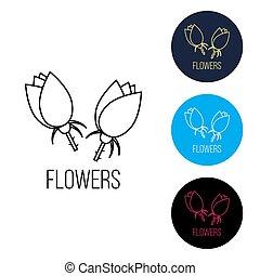 bello, rosa, fiori, emblema, logotipo