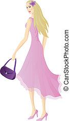 bello, rosa, luce, biondo, vestire, ragazza