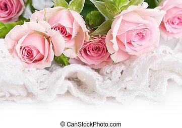 bello, rose, in, stile retro, fiore, floreale, fondo