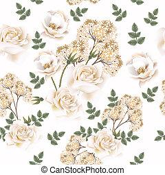 bello, roses.eps, fiore, vettore, modello
