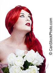 bello, rosso, capelli lunghi, rose, ondulato, attraente, donna, bianco rosso