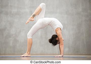 bello, ruota, atteggiarsi, fornito gambe, uno, yoga: