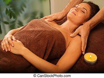 bello, salone, donna, giovane, terme, detenere, massaggio