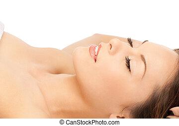 bello, salone, donna, massaggio