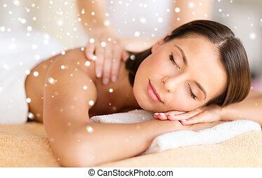 bello, salone, donna, prendere, giovane, terme, massaggio