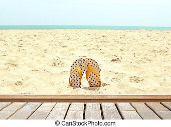 bello, sandalo, pavimento, legno, concept), (summer, fondo, spiaggia