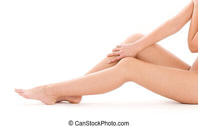 bello, sano, gambe, donna