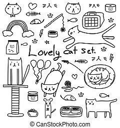 bello, scarabocchiare, set., mano, vettore, disegnato, linea, gatto