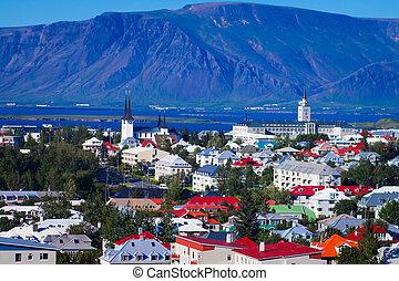 bello, scenario, aereo, largo-angolo, città, montagne, porto, islanda, vista, orizzonte, reykjavik, visto, torre, oltre, super, hallgrimskirja, osservazione
