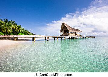 bello, scenario, sopra, spiaggia, con, il, acqua, ville