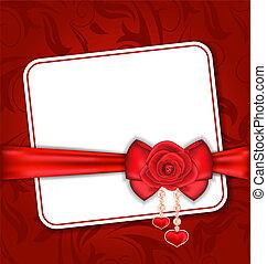 bello, scheda, per, valentina, giorno, con, rosso sorto, e, arco