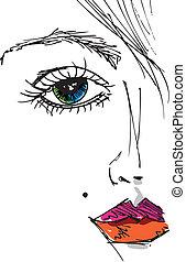 bello, schizzo, donna, face., illustrazione, vettore