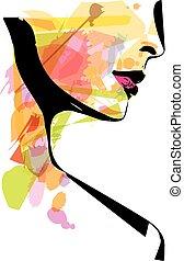 bello, schizzo, donna, illustrazione, faccia