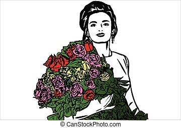 bello, schizzo, mazzolino, rose, vettore, ragazza