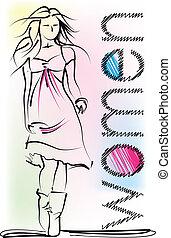 bello, schizzo, vettore, woman., illustrazione