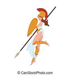 bello, scudo, lancia, femmina, casco, gladiator., mitologico, isolato, fondo., presa a terra, bianco, il portare, appartamento, donna, fanciulla, dea, amazon, cartone animato, illustration., hero., greco, vettore, guerriero, o