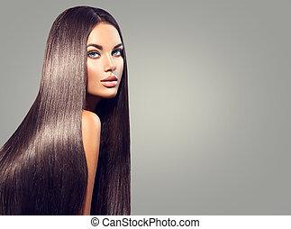 bello, scuro, donna, bellezza, diritto, capelli lunghi, sfondo nero, hair.