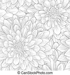 bello, seamless, dahlia., fondo, nero, fiori bianchi,...