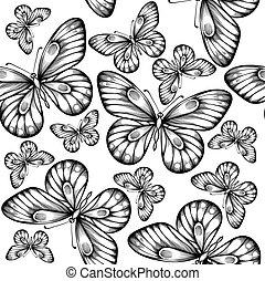 bello, seamless, fondo, di, farfalle, nero bianco, colors.
