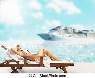 bello, seduta, cruiseship, ponte, tramonto, fondo, ragazza, sedia spiaggia