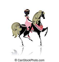 bello, sentiero per cavalcate, ragazza, cavallo