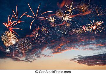 bello, sera, fireworks, cielo, clouds., altro, anno, maestoso, nuovo, natale, vacanza