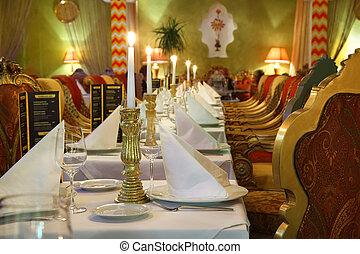bello, servire, ristorante, sedie, orientale, lungo, lusso, tavola