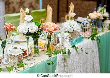 bello, servito, tavola, per, uno, matrimonio, cena