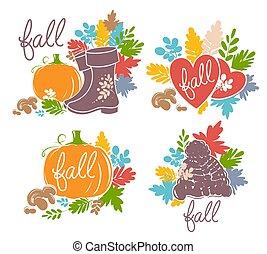 bello, set, immagini, autunno, luminoso, illustrations.