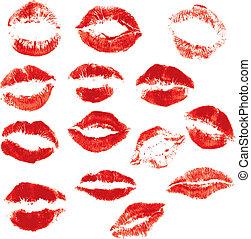 bello, set, isolato, labbra, fondo, stampa, bianco rosso