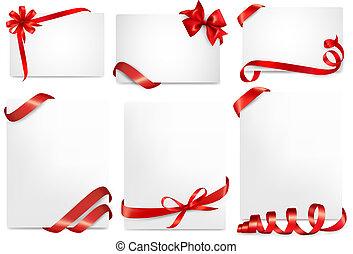 bello, set, regalo, archi, vettore, cartelle, nastri, rosso