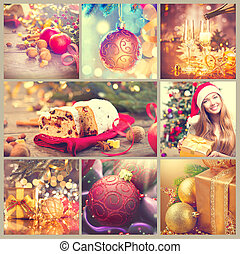 bello,  set, vendemmia,  collage, anno, Immagini, nuovo, Natale, celebrazione