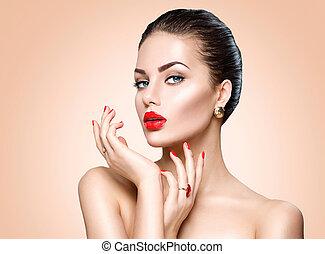 bello, sexy, brunetta, donna, con, lusso, trucco, e, manicure