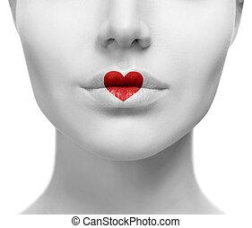 bello, sexy, colorito, labbra, con, forma cuore, paint.