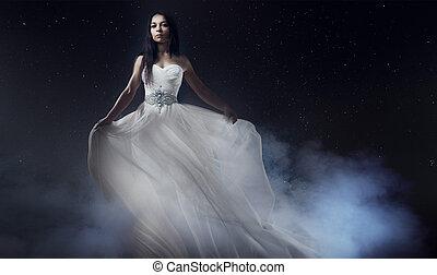 bello, sexy, giovane, woman., ritratto ragazza, in, lungo, vestito bianco, mistico, misterioso, stile, fondo, di, il, cielo stellato